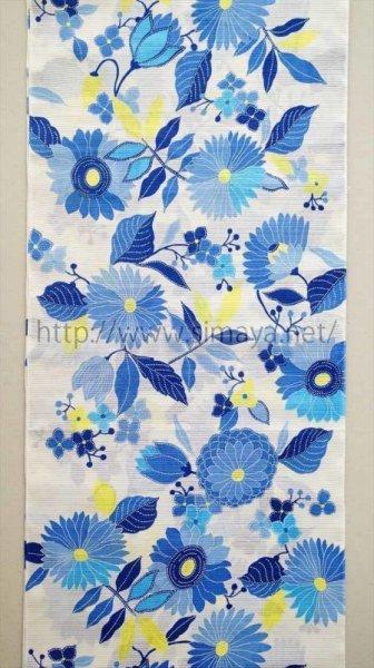 画像1: 紫織庵:ブルーの花々(綿絽) (1)