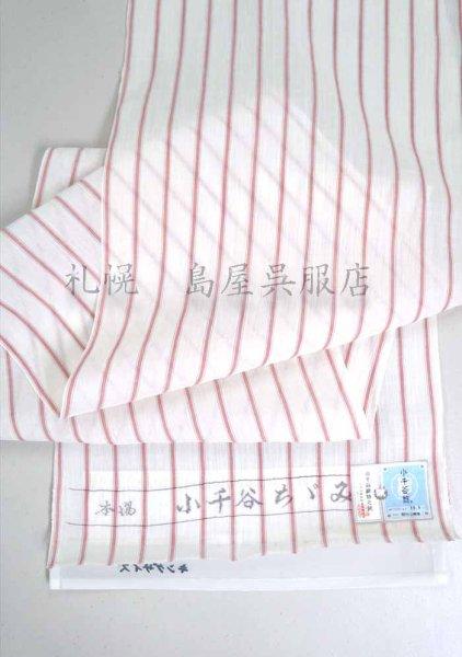 画像1: 小千谷縮:白地に赤ストライプ (1)