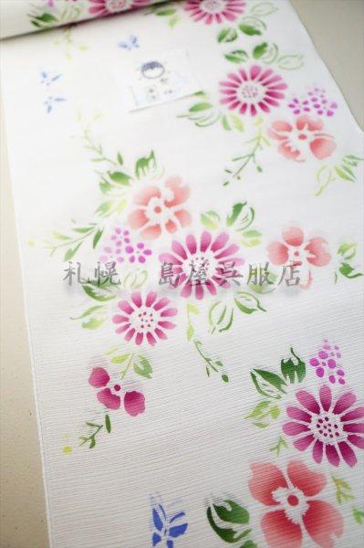画像1: 竺仙:ピンクの花(綿絽) (1)